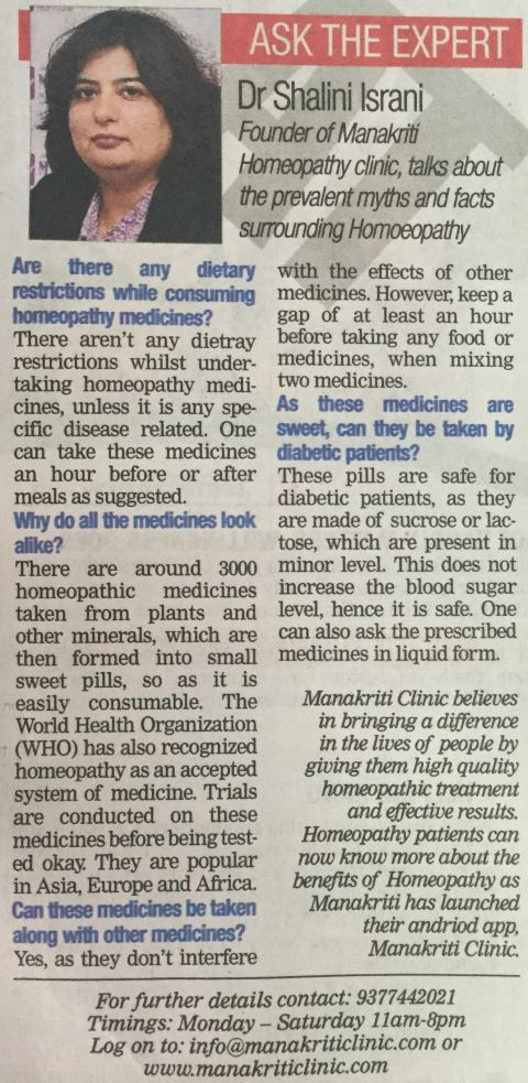 MANAKRITI Clinic - Article in Ahmedabad Times (The Times of India Group) - 2